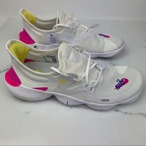 Nike Free RN 5.0 JDI White Fuchsia Sneakers Wmns 9